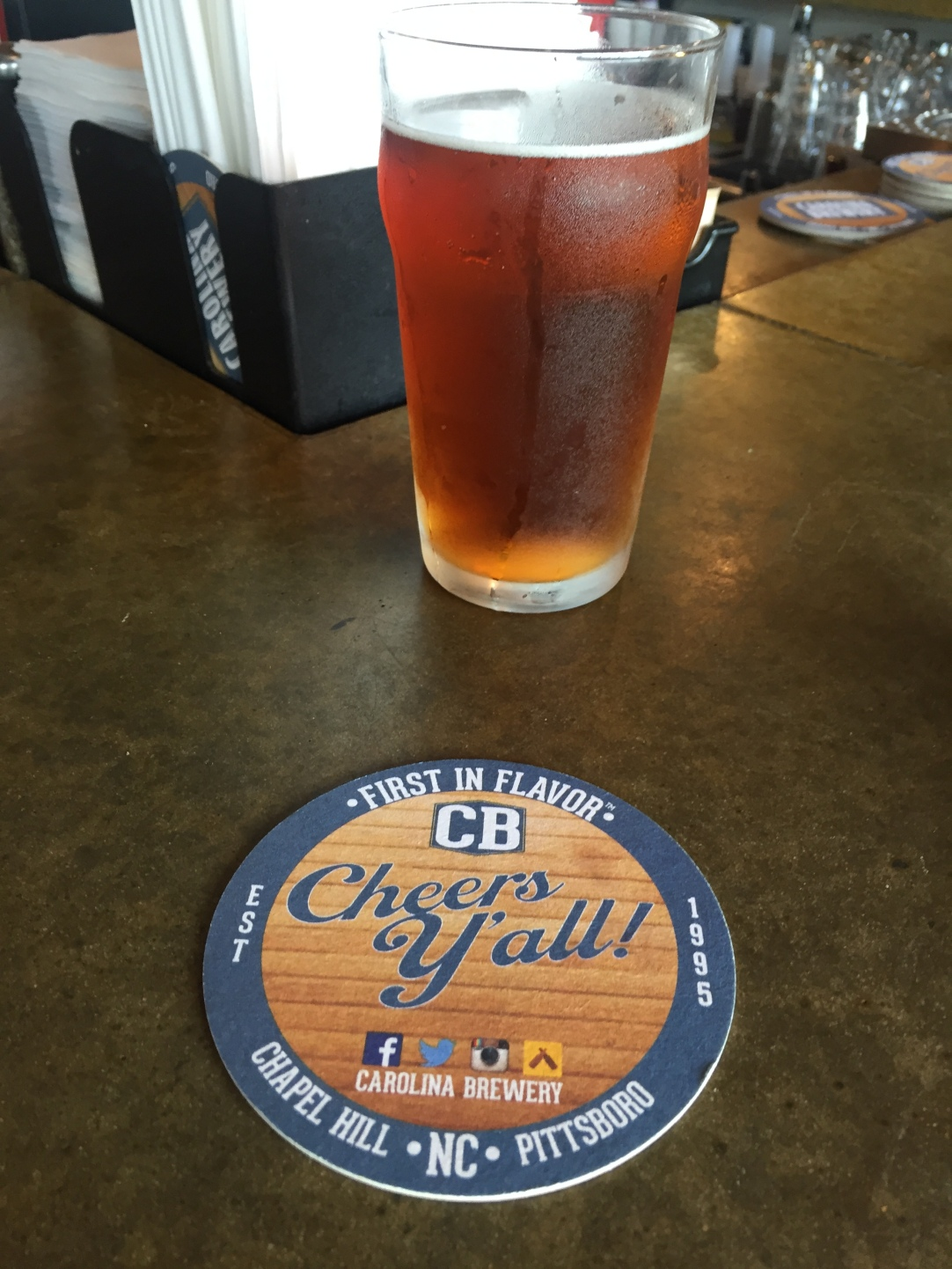 Carolina Brewery Coaster and Beer