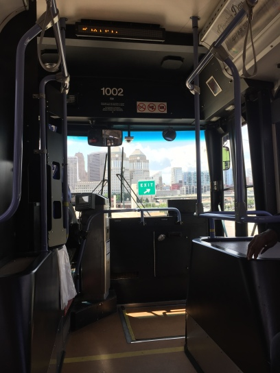 A civilized way to head back downtown...safely inside a bus