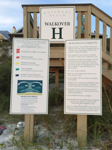 These explanation warnings are posted at Rosemary Beach.