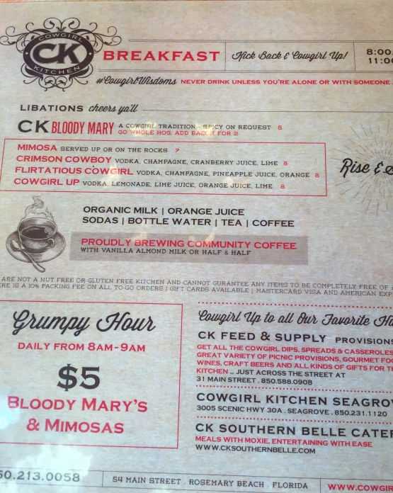 Cowgirl Kitchen drink menu