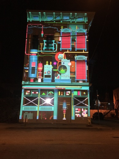 Blink Inc was an animated factory projected on an abandoned building.