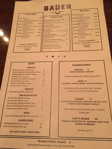 Bauer Farm menu...it's meaty