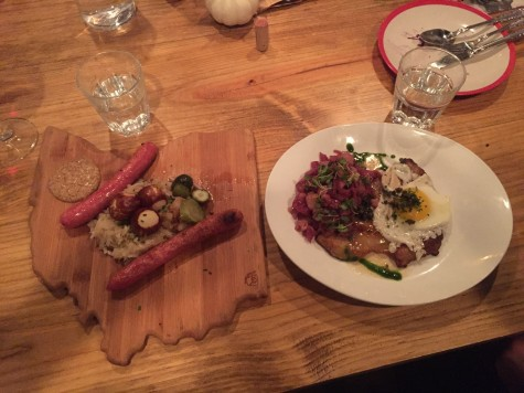 Seasonal sausage on an awesome serving board and Berliner Schnitzel.
