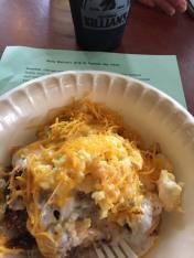 Eggs, potatoes, and goetta.