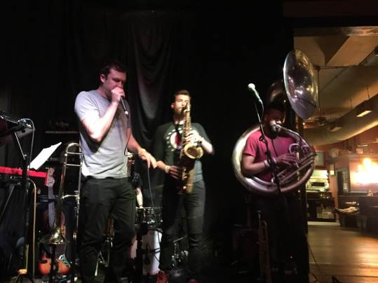 Dude doing beat box on the mic vs. the tuba player. Cool.