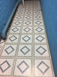 Walkway tile in the basement near the pool.