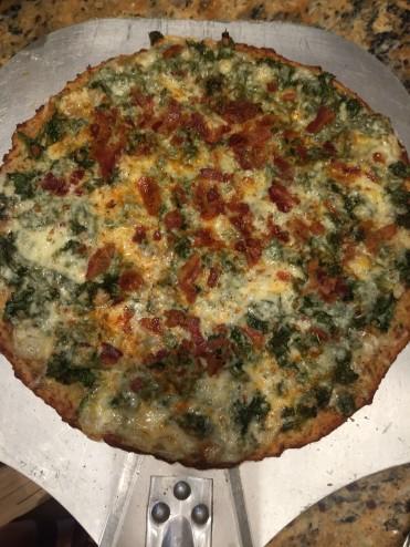Kale/Bacon/Fontina/Bleu Cheese pizza