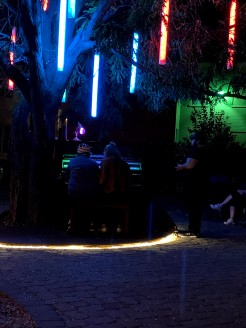 Piano under a lighted tree - anyone could walk up and play a tune