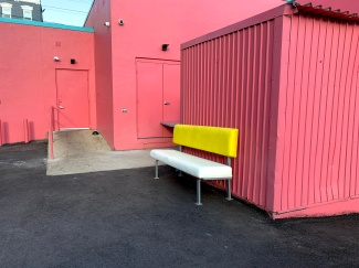 Festive color scheme for loading ramp.